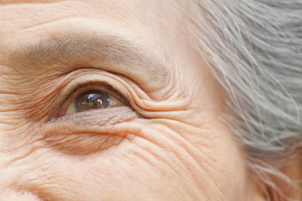 Close up of older Chinese woman's eye