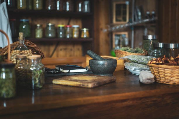 Small Retro Style Herbs and Spices Store.