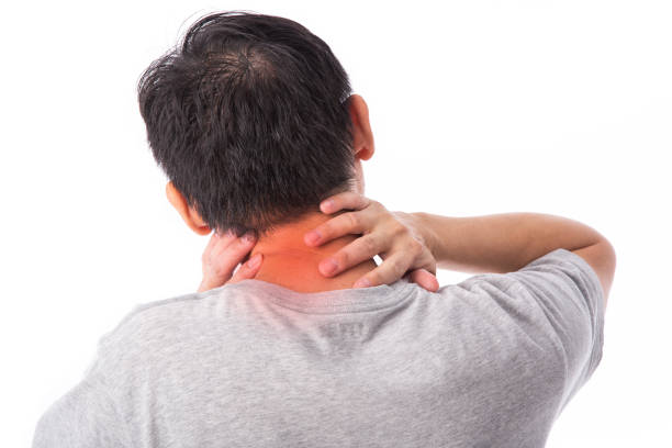 Sore pain of neck. Sprain and arthritis symptoms. middle age man holding his hurt neck over white background.