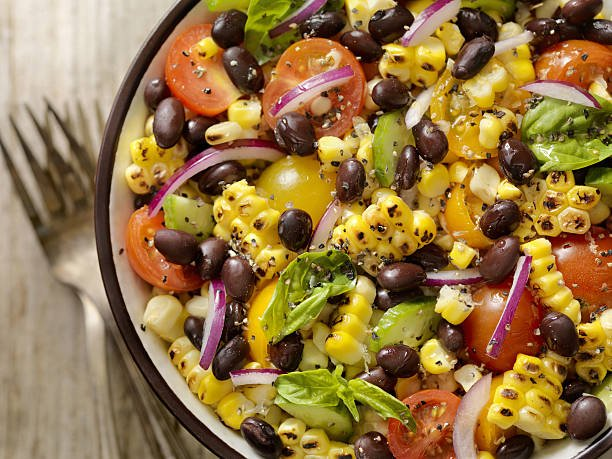Grilled Corn and Black Bean Salad with Tomatoes, Red Onions, Cucumber and Basil -Photographed on Hasselblad H3D2-39mb Camera